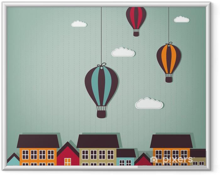 Ingelijste Poster Heteluchtballonnen vliegen over de stad - Bestemmingen