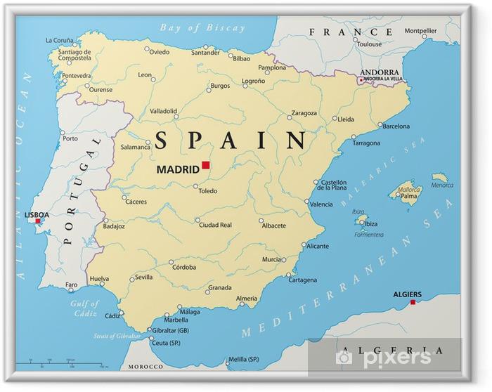 Plakat w ramie Hiszpania mapa - Tematy