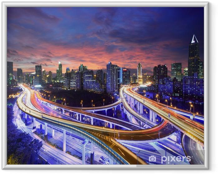 Ingelijste Poster Shanghai snelweg uitzicht op zonsondergang - Thema's