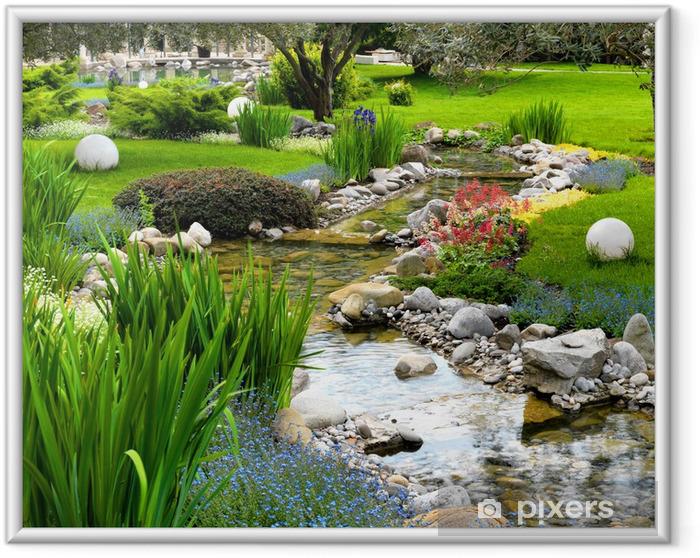 Póster Enmarcado Jardín con estanque de estilo asiático - iStaging