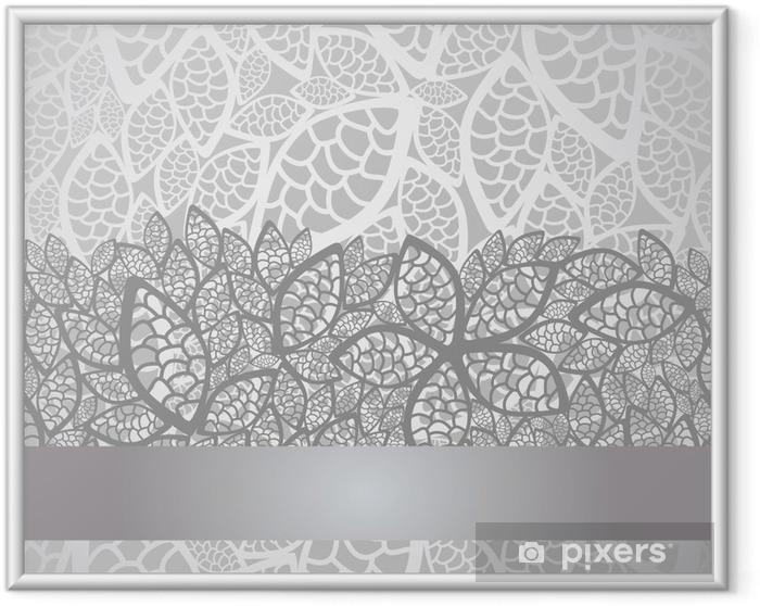 Ingelijste Poster Luxe zilveren bladeren kanten rand en achtergrond - Stijlen