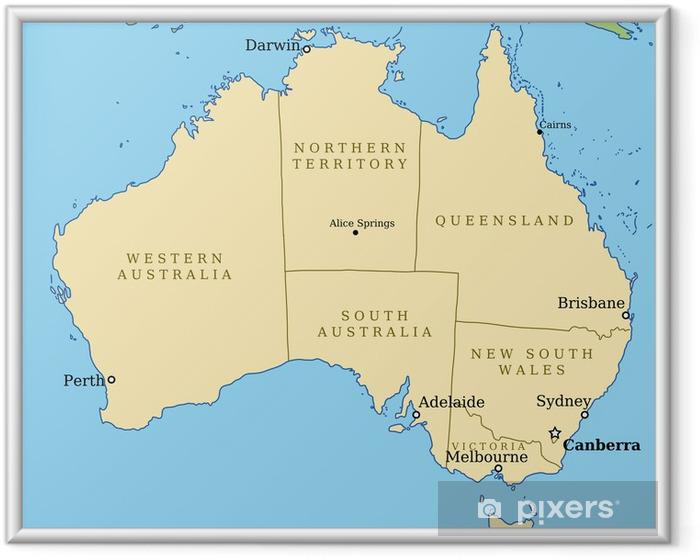 Ingelijste Poster Australië kaart met staten - vectorillustratie - Thema's