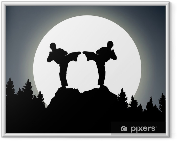 Plakat w ramie Night Combat - księżyc - Karate