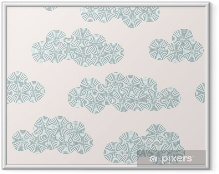 Ingelijste Poster Naadloze hand getekende patroon met gestileerde wolken - Thema's
