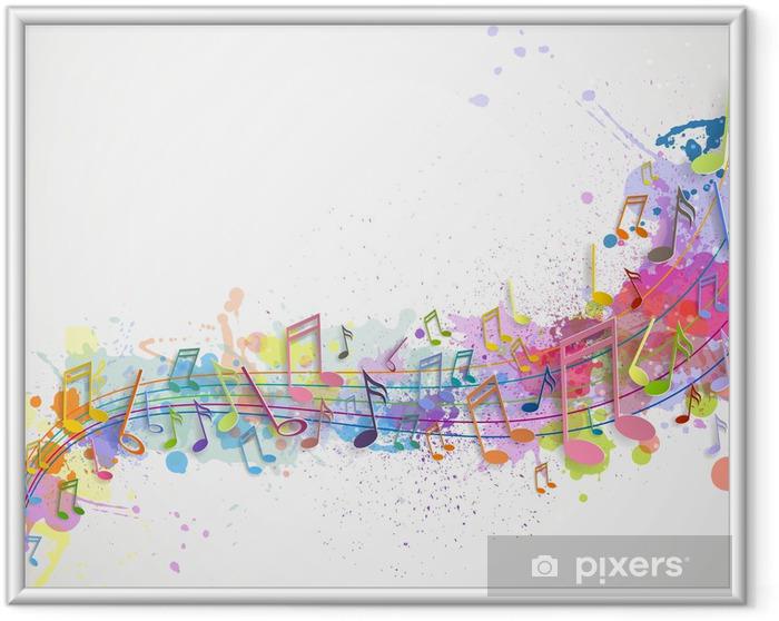 Plakat w ramie Ilustracji wektorowych abstrakcyjnym tle z nut - Tła