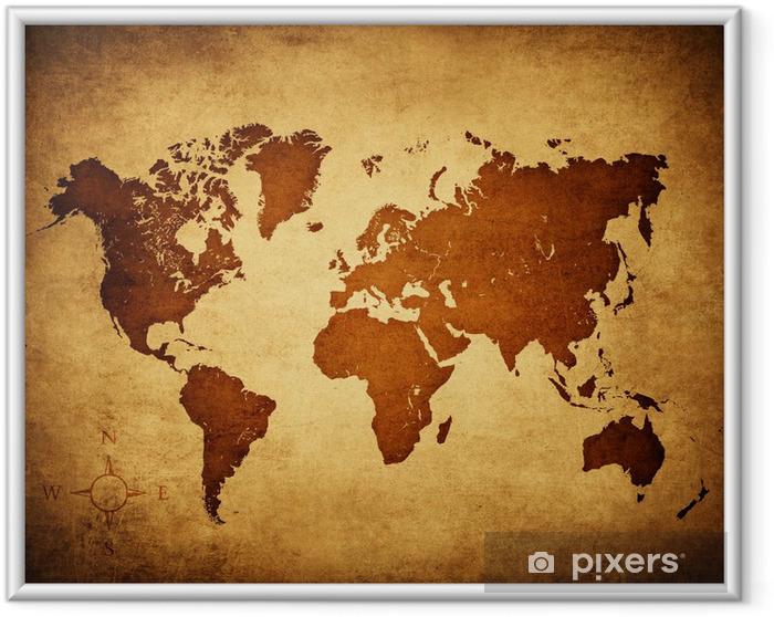 Ingelijste Poster Wereldkaart oud - Thema's
