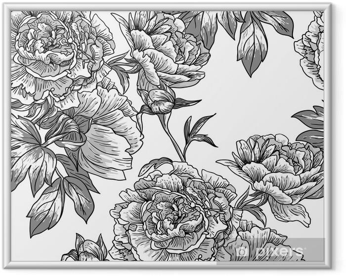 Poster en cadre Monochrome seamless pattern. - Fleurs