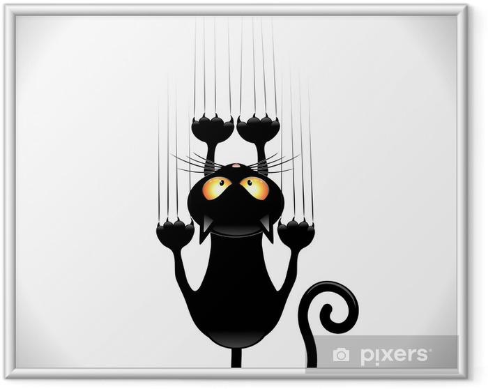 Plakat w ramie Kot kreskówka zarysowania czarny kot na ścianie ściana zarysowania - Ssaki