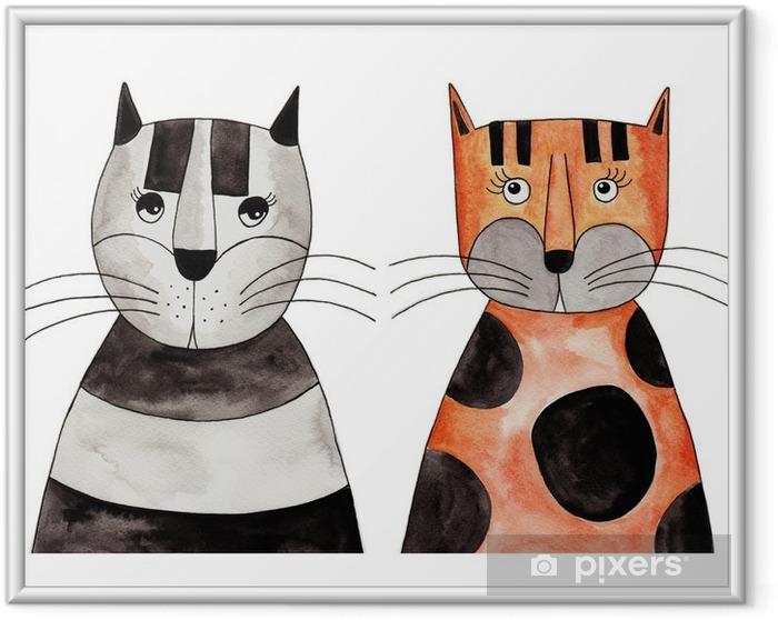 Poster i Ram Cats. Konstverk, bläck och akvarell på papper - Andra Andra