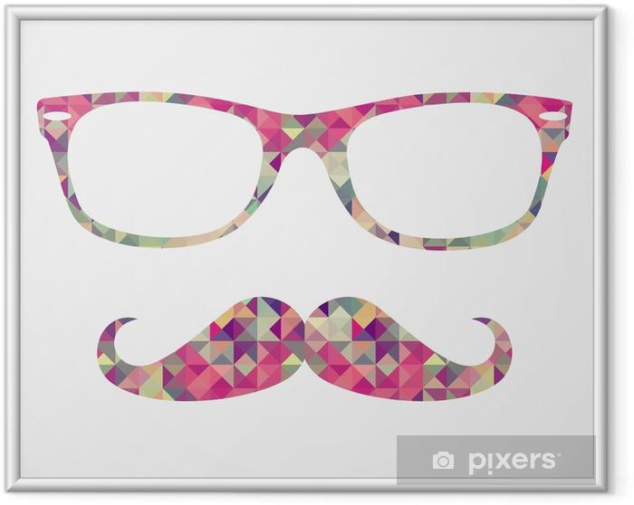 Gerahmtes Poster Retro Hipster Gesicht geometrischen Symbolen - Schnurrbart