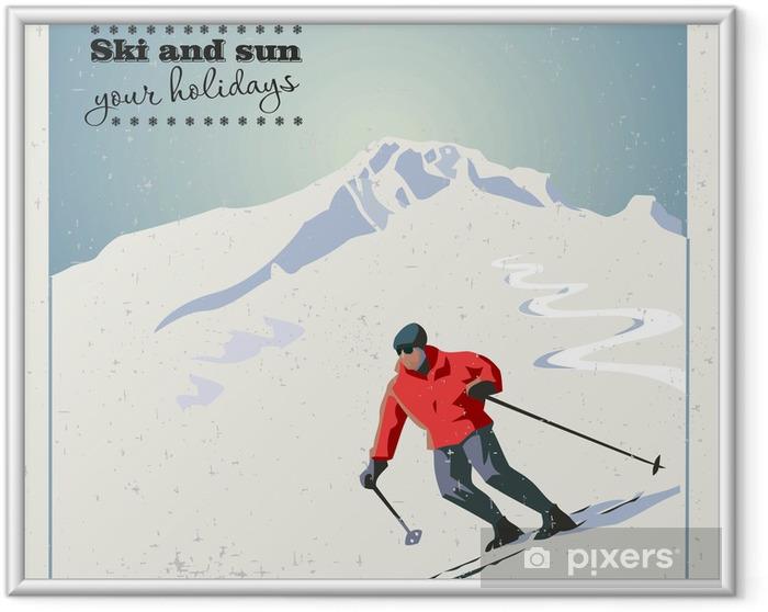 Poster i Ram Berg skidåkare glider från berget. - Vintersport