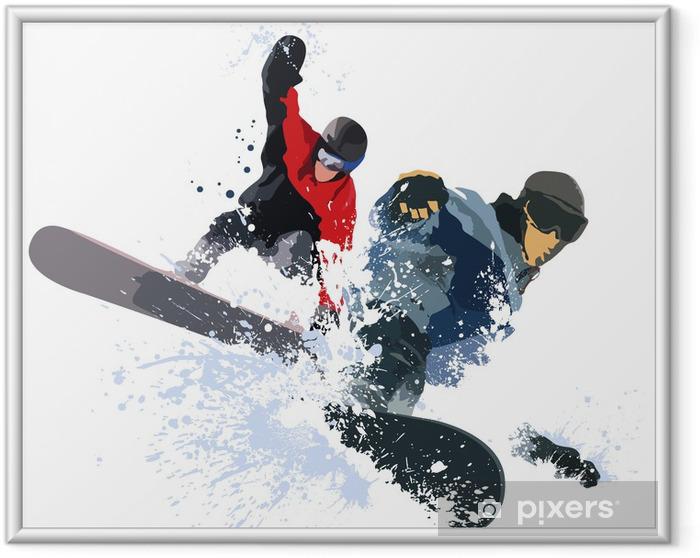 Ingelijste Poster Snowboarder - Wintersport