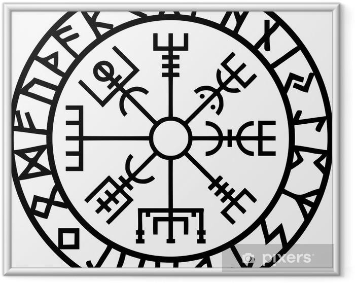 Poster en cadre Vegvisir, rune Kreis, l'Islande, le Navigator - Esotérisme