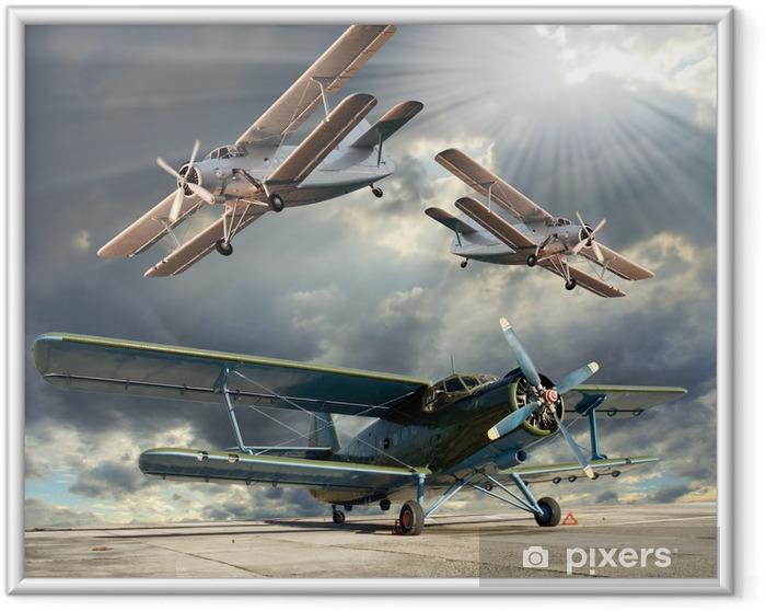 Poster en cadre Image de style rétro des biplans. thème des transports. - Thèmes