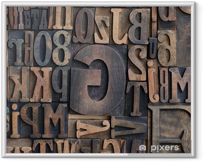 Plakat w ramie Drewniane drukarki krój liter - Tematy