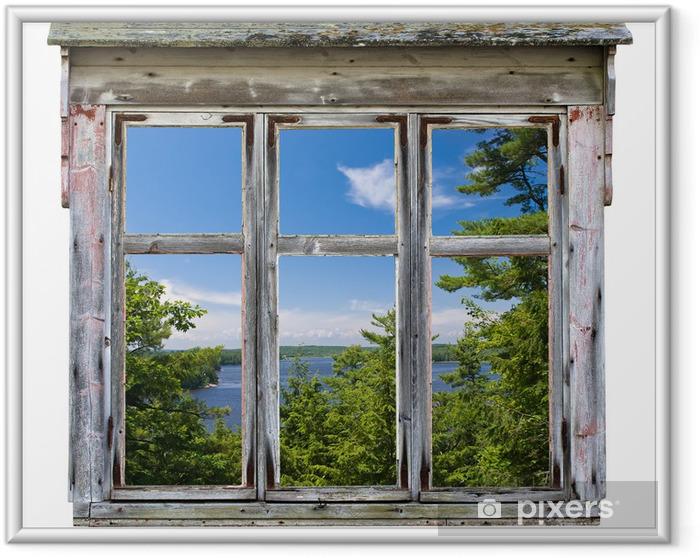 Plakat w ramie Malowniczy widok widziany przez ramy okna starego - Przeznaczenia
