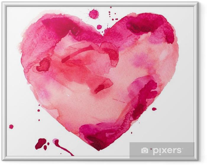 Ingelijste Poster Aquarel hart. Concept - liefde, relatie, kunst, schilderen - Concept