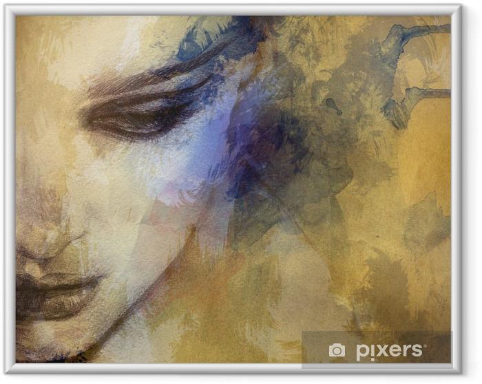 Ingelijste Poster Mooie vrouw gezicht. aquarel illustratie - Stijlen