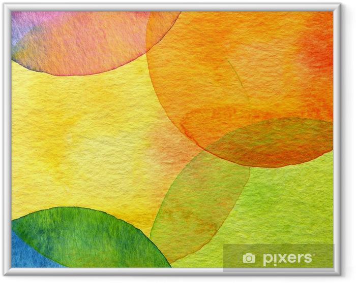 Póster Enmarcado Fondo abstracto del círculo pintado acuarela - Estilos