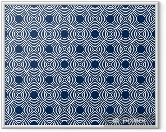 Ingelijste Poster Navy Blue en witte cirkels Tegels herhalen Patroon Achtergrond - Achtergrond