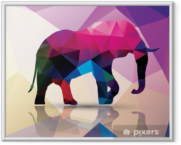 Ingelijste Poster Geometrische veelhoekig olifant, patroon ontwerp, vector - Thema's