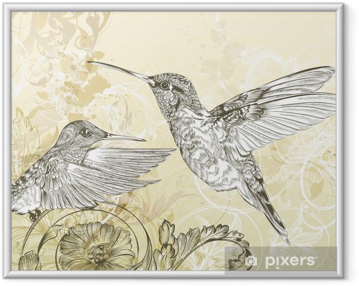 Ingelijste Poster Floral vector achtergrond met zoemende vogel en swirls - Café