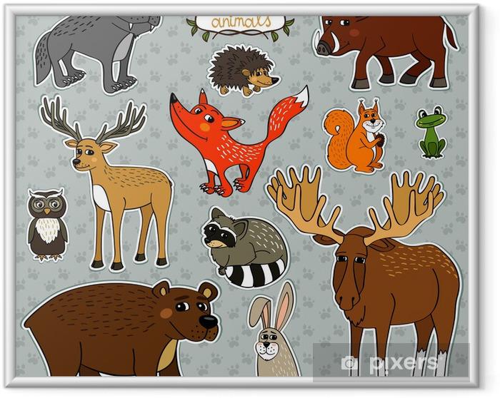 Plakat w ramie Jeleń lisa zwierzęta sowa - Znaki i symbole