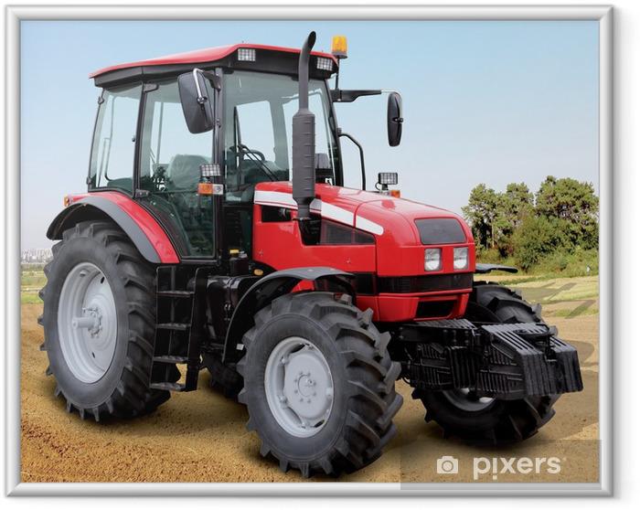 Plakat w ramie Duży czerwony traktor na polu - Tematy