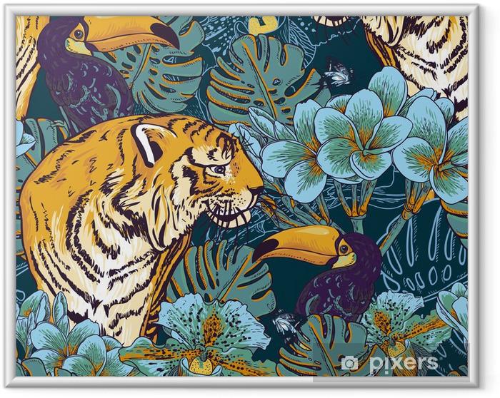 Plakat w ramie Tropikalnych kwiatów bezszwowe tło z Tygrysa - Biznes