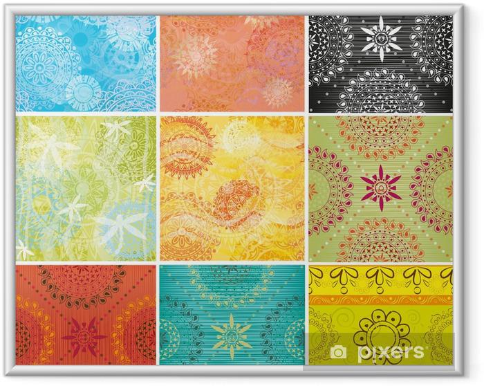 Poster in Cornice Grande set di texture con schemi indiani - Texture