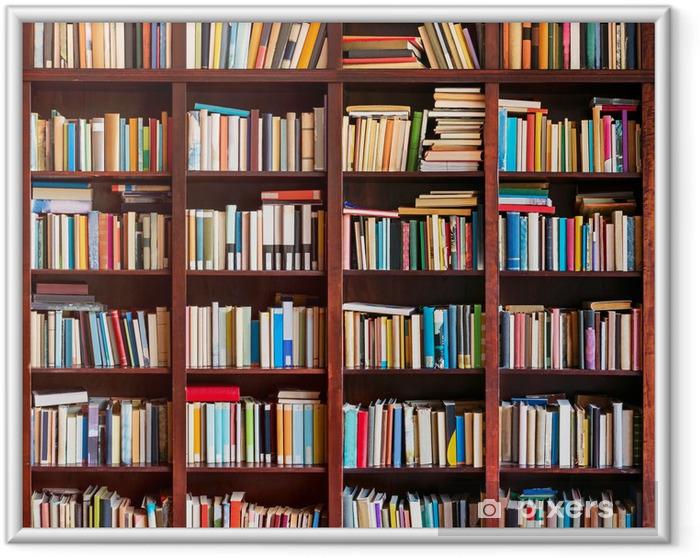 Poster i Ram Bokhylla fullt med böcker - Bibliotek