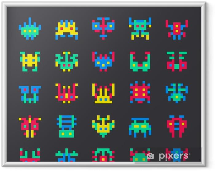 Poster en cadre Ensemble de 8 bits espace couleur monstres - Signes et symboles