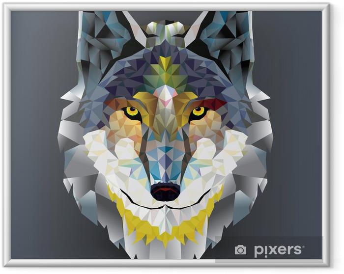 Poster en cadre Tête de loup motif géométrique. vecteur - Husky