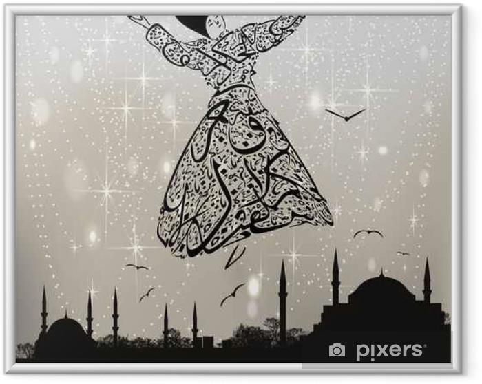 Póster Enmarcado Derviche caligrafía y mezquitas de Estambul - Religión