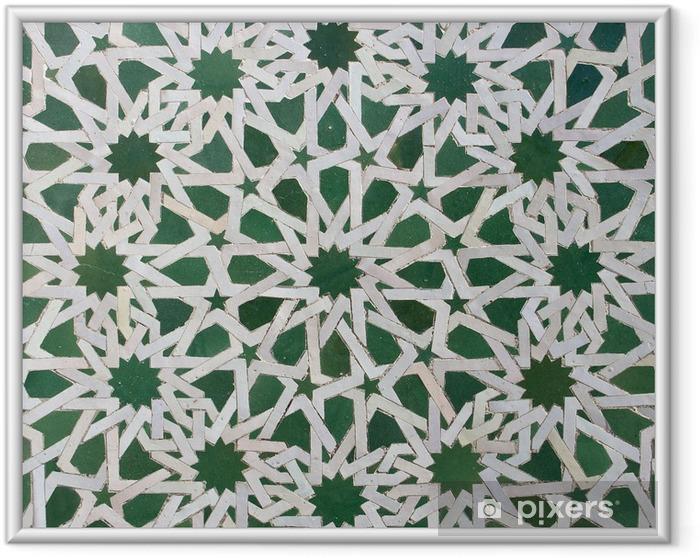 Póster Enmarcado Zellige marroquí del modelo del azulejo - África