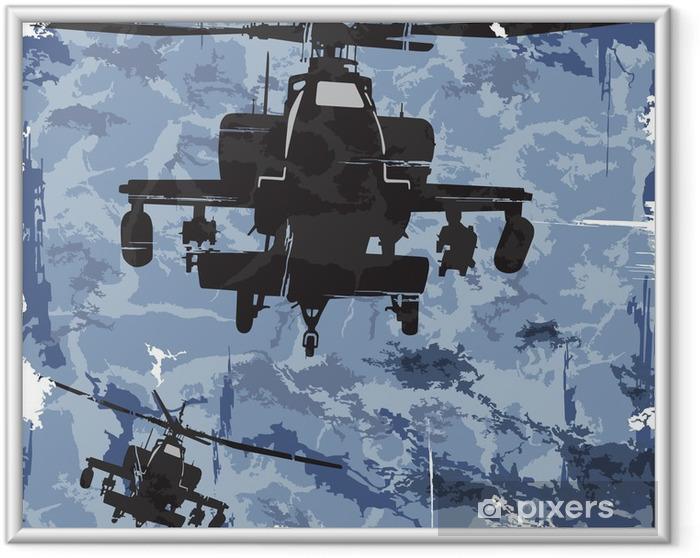 Poster en cadre Armée fond de grunge avec l'hélicoptère. Vecteur - Dans les airs