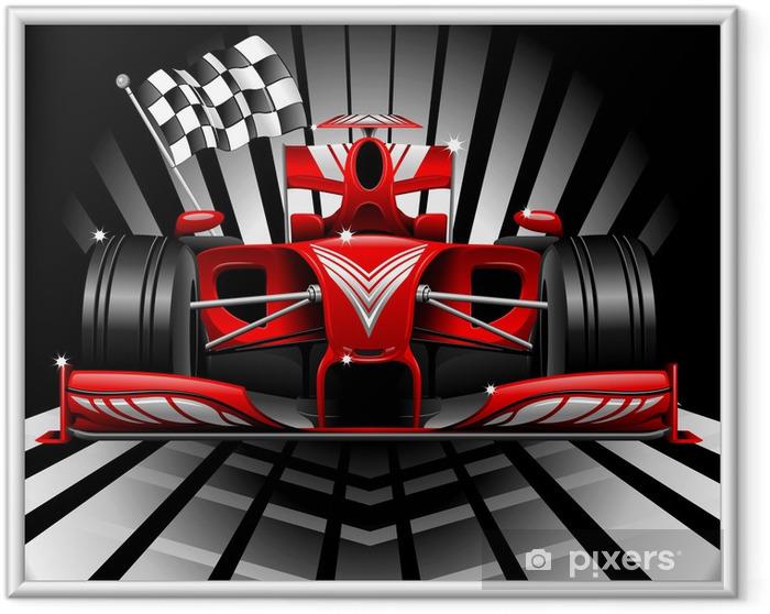 Ingelijste Poster Formule 1 Rode Raceauto en Chequered Flag - Thema's