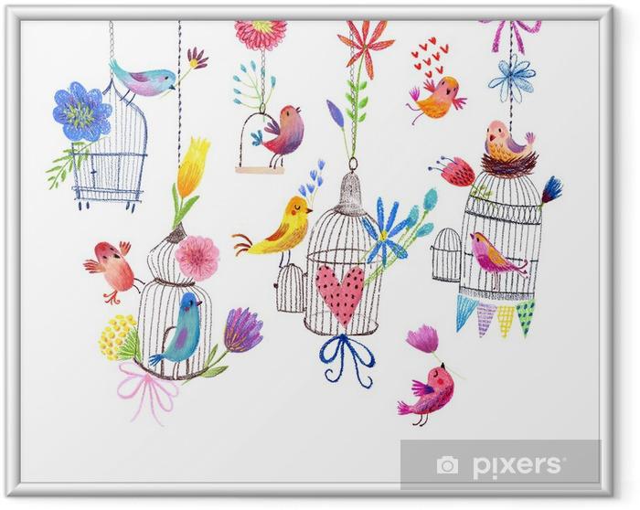 Póster Enmarcado Tarjeta linda con los pájaros y las flores pintura dibujo en colores pastel -
