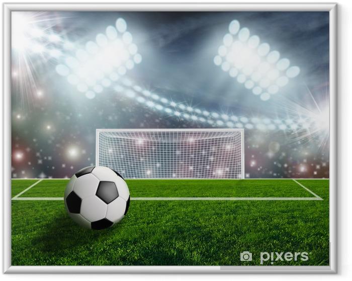 Plakat w ramie Piłka nożna na zielonej Stadion Arena - Sukces i osiągnięcia