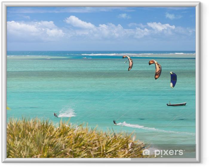 Plakat w ramie Kitesurfing w Rodrigues, laguny Mourouk Cove - Wakacje