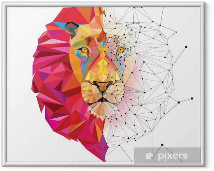 Ingelijste Poster Leeuwenkop in geometrische patroon met ster lijn vector - Andere Andere
