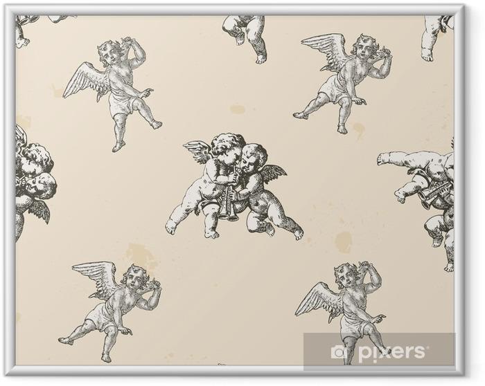 Ingelijste Poster Angels patroon - patroon meegeleverd in de doos stalen - Religie en Cultuur