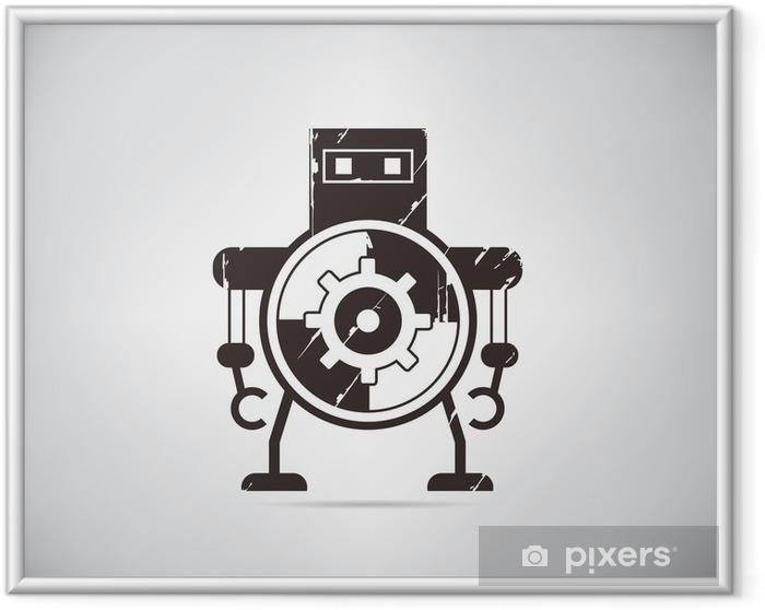 Póster Enmarcado De dibujos animados retro robot - Hobbies y entretenimiento