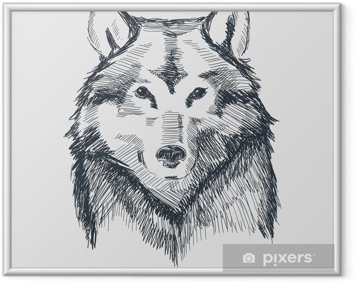 Ingelijste Poster Wolf hoofd grunge hand getekende schets vector illustratie - Kunst en Creatie