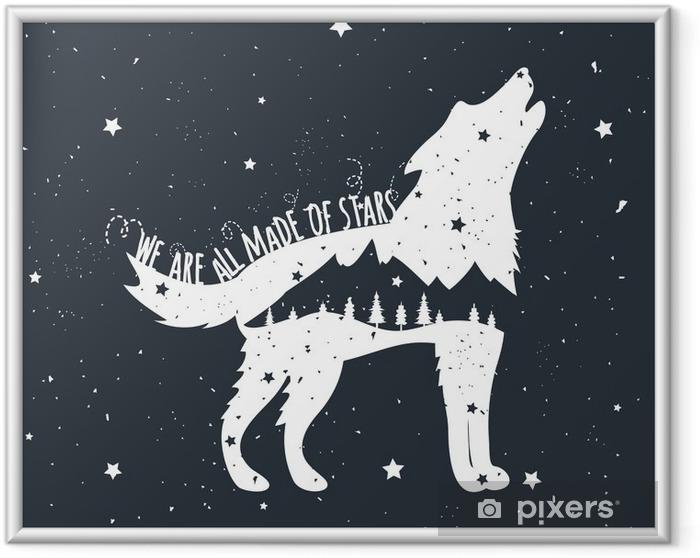 Çerçeveli Poster Uluyan kurt, dağlar ve ağaçlar ile vektör çizim - Hayvanlar
