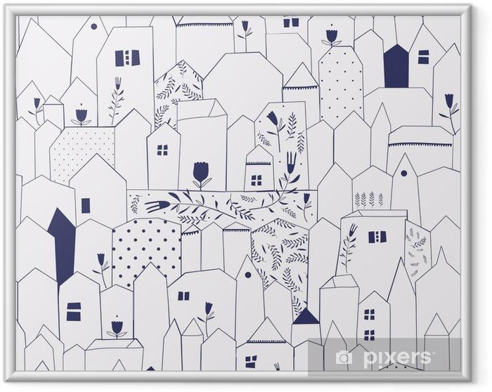 Plakat w ramie Szwu. miasta rysunek w stylu vintage. - Style