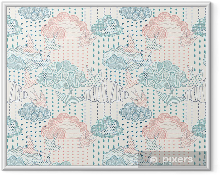 Ingelijste Poster Wolken naadloze patroon - Stijlen