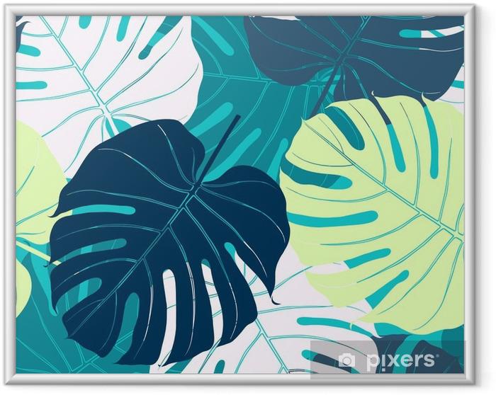 Ingelijste Poster Naadloos patroon met palmbladeren - Bloemen en Planten