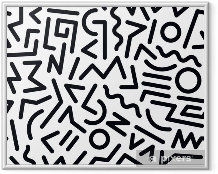 Ingelijste Poster 80s patroon - Grafische Bronnen