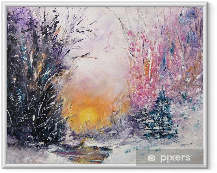 Ingelijste Poster Winterlandschap - Hobby's en Vrije tijd